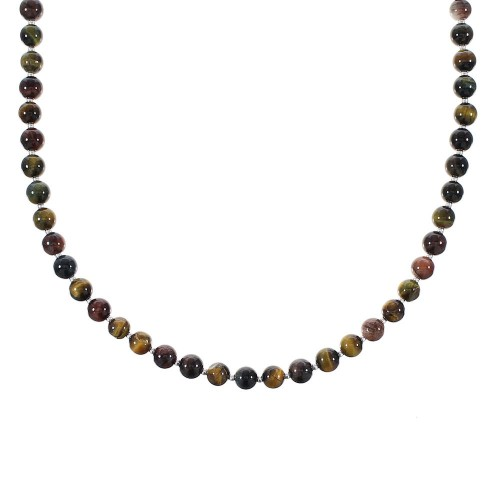 American Indian Genuine Sterling Silver Tiger Eye Bead Necklace RX98069