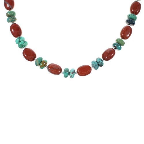 Turquoise Jasper Navajo Genuine Sterling Silver Bead Necklace AX98182