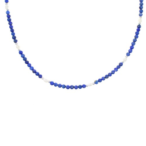 Lapis And Fresh Water Pearl Navajo Silver Bead Necklace AX98201