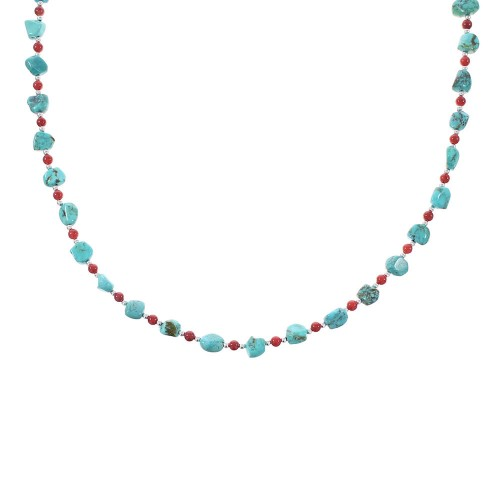Turquoise And Coral Navajo Jewelry Sterling Silver Bead Necklace AX98213
