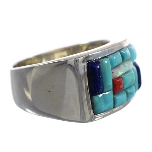 Turquoise Multicolor Inlay Sterling Silver Ring Size 10-1/4 AS27596