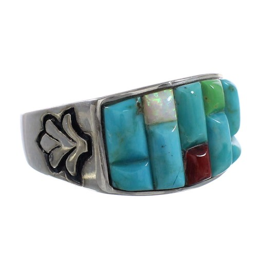 Turquoise And Multicolor Sterling Silver Ring Size 11 AS25923