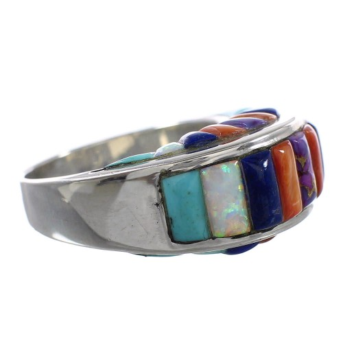 Multicolor And Genuine Sterling Silver Ring Size 9-1/2 AS25509