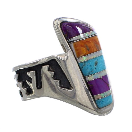 Multicolor Inlay Sterling Silver Jewelry Ring Size 6-1/4 AS37303