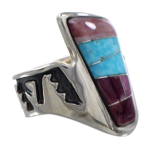 Turquoise Purple Oyster Shell Sterling Silver Ring Size 5-1/2 AS37121