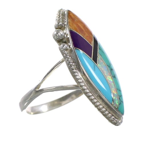 Multicolor Inlay Sterling Silver Jewelry Ring Size 6-1/4 AS33998