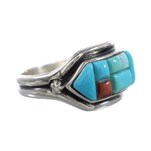 Turquoise And Multicolor Sterling Silver Ring Size 7-3/4 AS23805