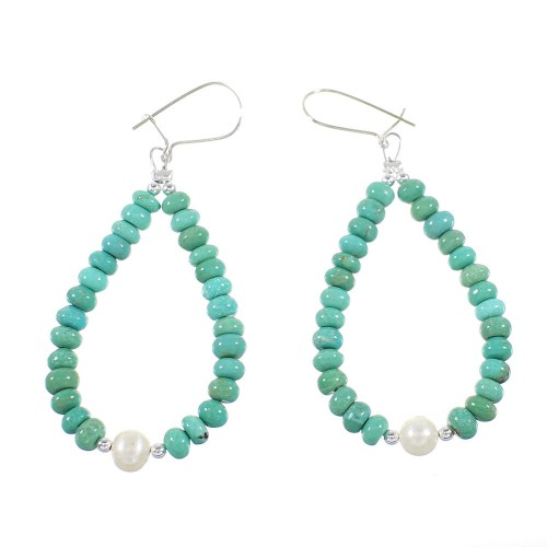 Turquoise And Fresh Water Pearl Sterling Silver Navajo Bead Hook Dangle Earrings AX98296