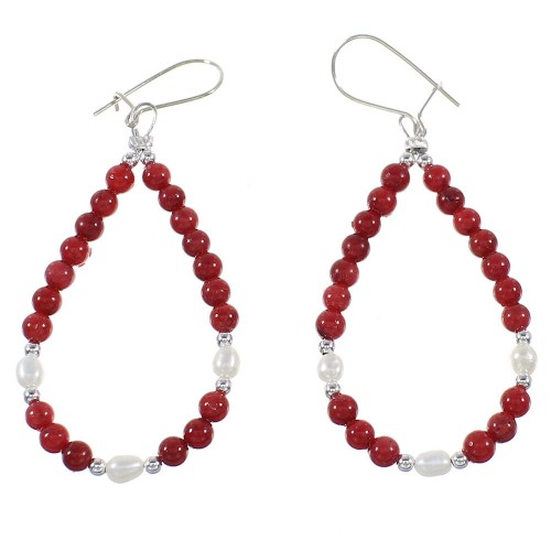 Coral And Fresh Water Pearl Silver Navajo Bead Hook Dangle Earrings AX98304