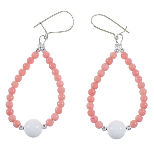 Pink Coral And White Agate Navajo Sterling Silver Bead Hook Dangle Earrings AX98317