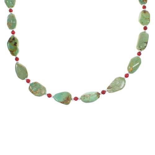 Sterling Silver Turquoise And Coral Navajo Jewelry Bead Necklace AX98273