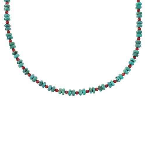 Sterling Silver Native American Turquoise And Coral Bead Necklace AX98280