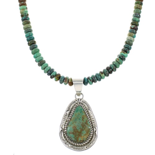 Silver Navajo Turquoise Jewelry Bead Necklace Set AX98339