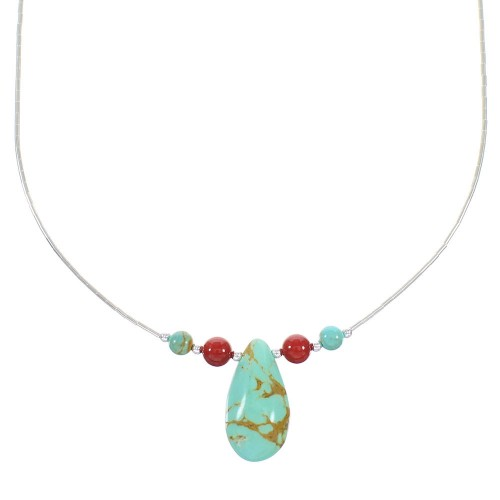 Liquid Silver Turquoise And Coral Necklace RX98469