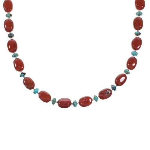 Turquoise And Jasper Sterling Silver Navajo Bead Necklace AX98571