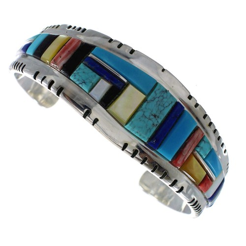 Sterling Silver And Multicolor Inlay Cuff Bracelet Jewelry EX27326