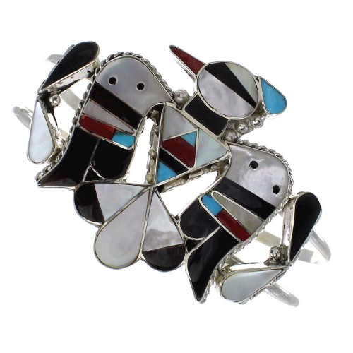Multicolor Authentic Sterling Silver Thunderbird Zuni Cuff Bracelet AX98652