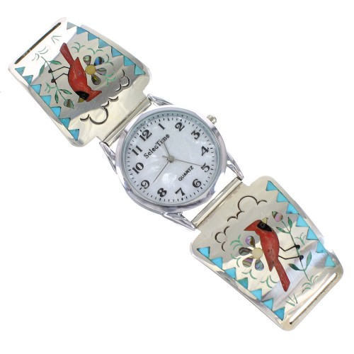 Zuni Indian Cardinal Sterling Silver And Multicolor Inlay Watch RX98734