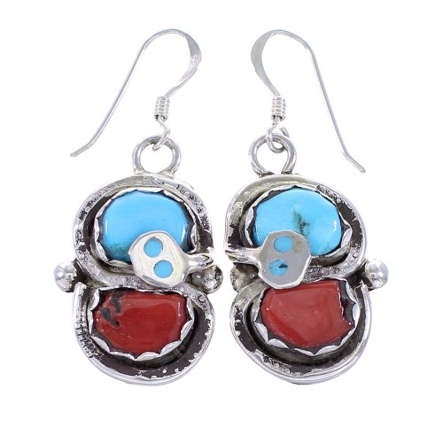 Turquoise And Coral Silver Zuni Effie Calavaza Snake Hook Dangle Earrings AX98738