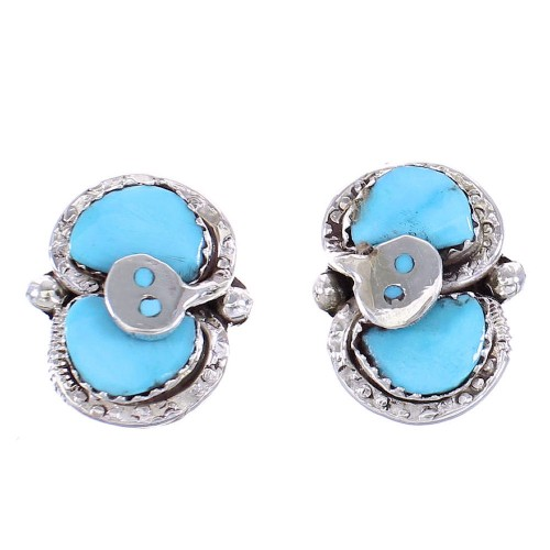 Turquoise Zuni Effie Calavaza Silver Snake Post Earrings AX98744