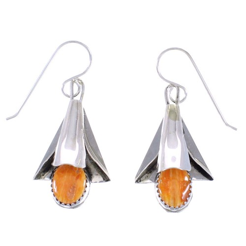 Oyster Shell Sterling Silver Squash Blossom Navajo Hook Dangle Earrings RX98802