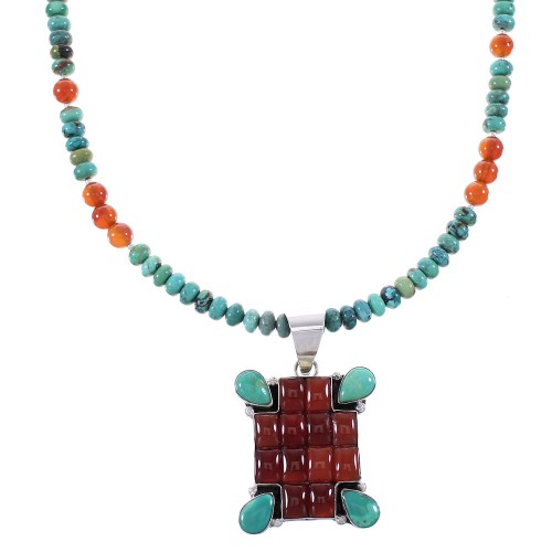 Turquoise And Carnelian Sterling Silver Navajo Bead Necklace Set AX99041