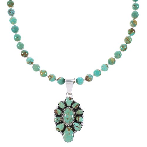 Sterling Silver Navajo Turquoise Jewelry Bead Necklace Set AX99046