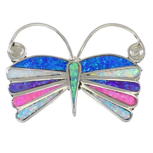 Multicolor Opal Sterling Silver Zuni Butterfly Pin Pendant AX99152