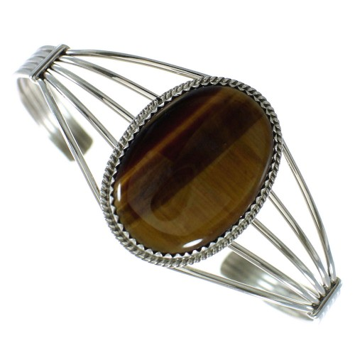 Tiger Eye Authentic Sterling Silver Navajo Cuff Bracelet AX99191
