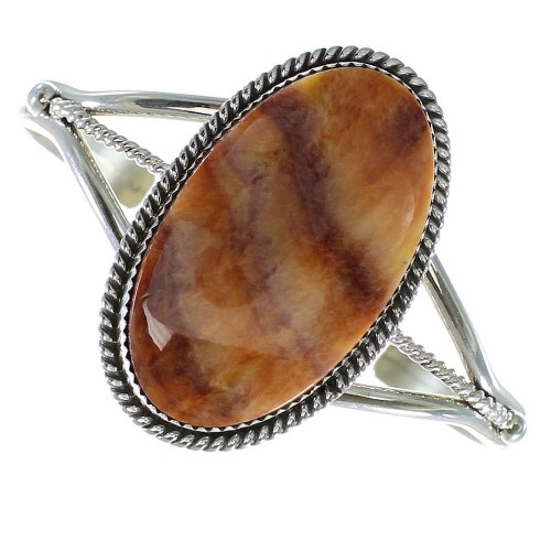 Spiny Oyster Shell Sterling Silver Navajo Cuff Bracelet AX99188