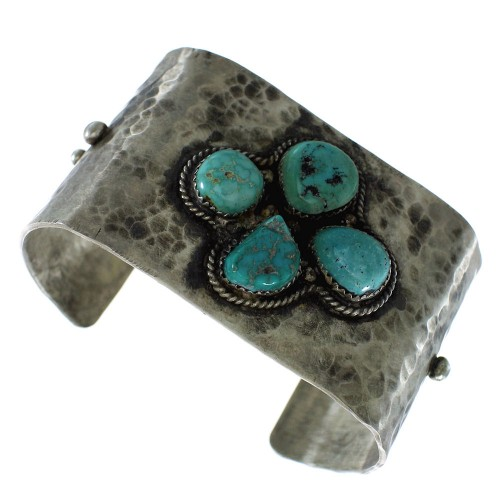 Turquoise Native American Silver Old Pawn Cuff Bracelet AX99236