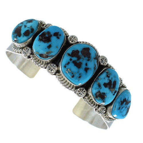 Sleeping Beauty Turquoise Native American Silver Cuff Bracelet AX99237