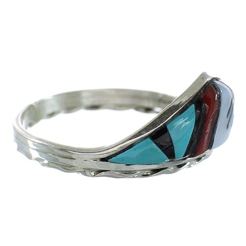 Multicolor Inlay Authentic Sterling Silver Zuni Ring Size 9-3/4 AX99296