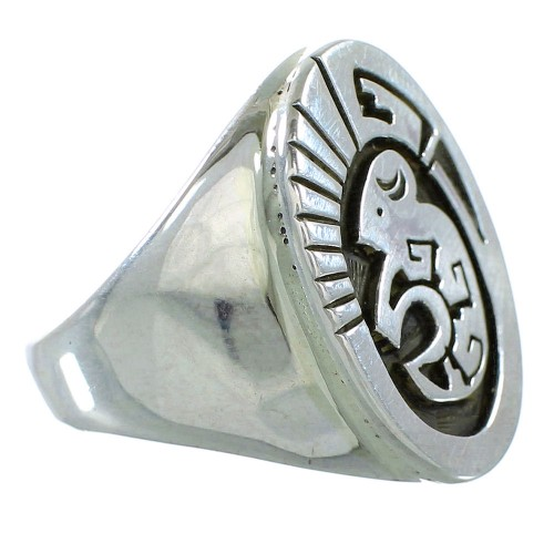 American Indian Calvin Peterson Buffalo Water Wave Sterling Silver Ring Size 9-1/2 RX99644