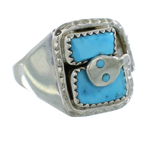Turquoise Silver Snake Effie Calavaza Zuni Ring Size 11 AX99562