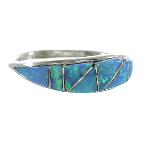 Blue Opal Inlay Sterling Silver Zuni Jewelry Ring Size 8-1/4 AX99414