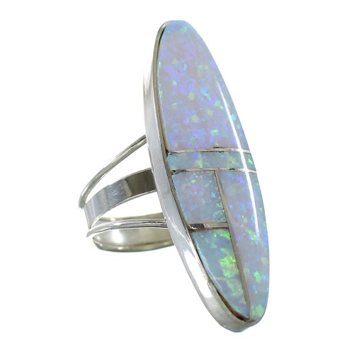 Opal Navajo Sterling Silver Ring Size 7-3/4 AX99467
