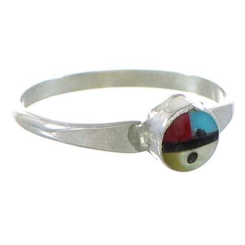Authentic Sterling Silver Multicolor Inlay Zuni Sun Ring Size 6-1/2 AX99615
