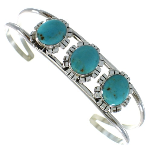 Sterling Silver Turquoise Southwestern Cuff Bracelet AX99752