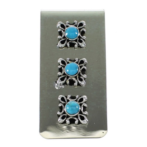 Turquoise Navajo Genuine Sterling Silver Money Clip AX99778