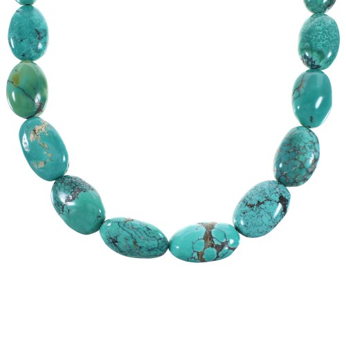 Sterling Silver And Turquoise Navajo Jewelry Bead Necklace RX99818
