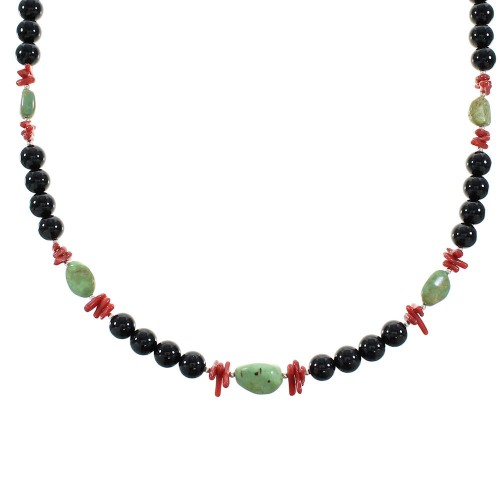 Multicolor Sterling Silver Navajo Bead Necklace AX99899