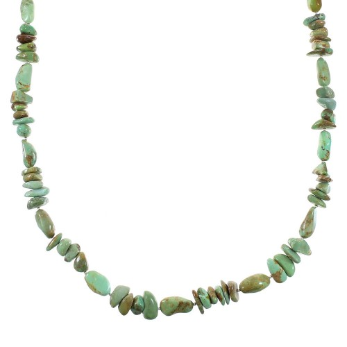 Authentic Sterling Silver And Kingman Turquoise Navajo Bead Necklace RX99900