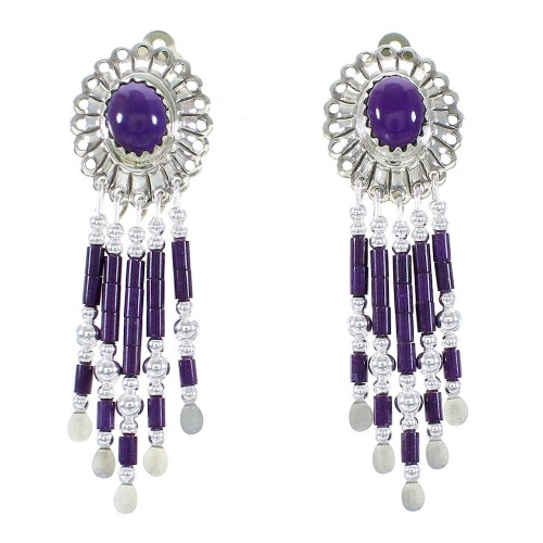 Hand Made Sterling Silver Sugilite Clip On Dangle Concho Earrings CCE5S