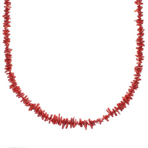 Coral Sterling Silver Southwestern Bead Necklace AX100062