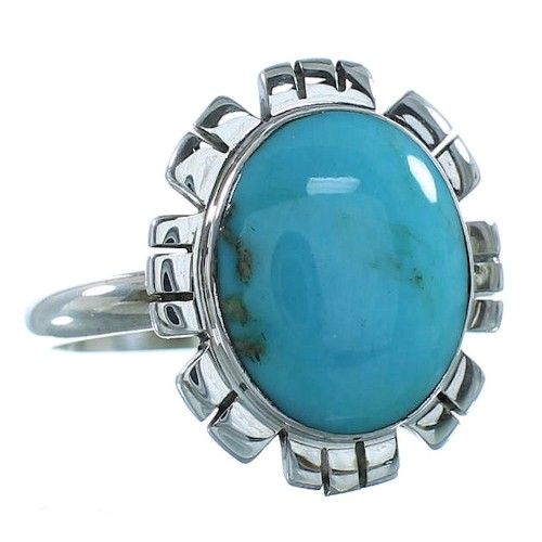 Turquoise Silver Southwestern Ring Size 8-1/2 AX100154