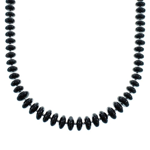 Silver And Onyx Native American Bead Necklace AX100160