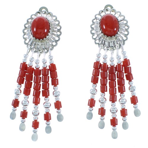 Hand Made Sterling Silver Coral Post Dangle Concho Earrings CE5C
