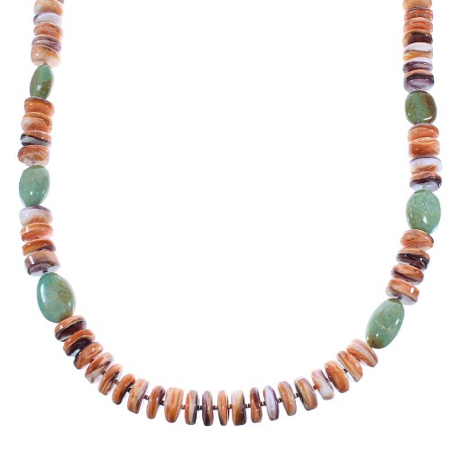 Turquoise And Oyster Shell Sterling Silver Navajo Bead Necklace AX100277