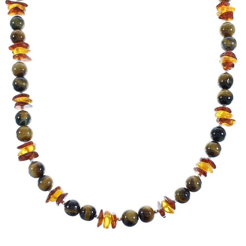 Sterling Silver Amber And Tiger Eye Navajo Bead Necklace AX100281